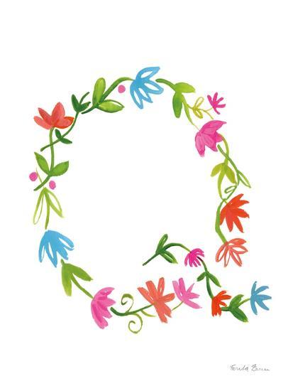 Floral Alphabet Letter XVII-Farida Zaman-Art Print
