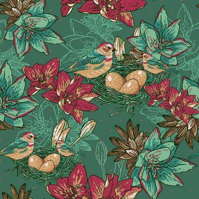 Floral Background with Bird-Varvara Kurakina-Art Print