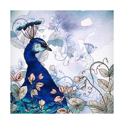 Floral Background with Peacock-Varvara Kurakina-Art Print