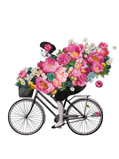 Floral Bicycle-Laura Graves-Art Print