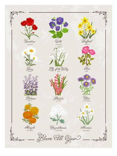 Floral Birthflowers 1-Brooke Witt-Art Print