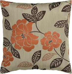 Floral Bloom Poly Fill Pillow - Pumpkin