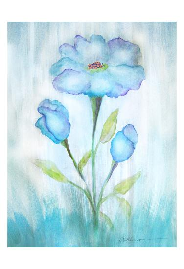 Floral Blue 2-Debbie Pearson-Art Print