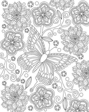 Floral Butterfly Coloring Art