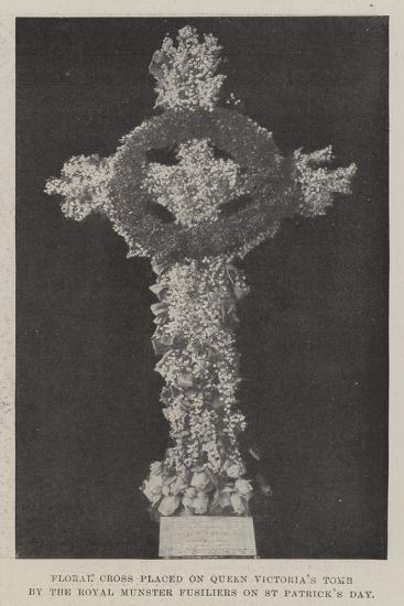 Floral Cross Placed on Queen Victoria's Tomb by the Royal Munster Fusiliers on St Patrick's Day--Giclee Print