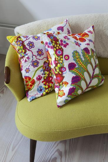 Floral Cushions on Retro Sofa in Living Room of London Family Home, UK-Pedro Silmon-Photo