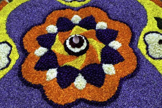 Floral Decorations During Onam Festival, Kerala, India, Asia-Balan Madhavan-Photographic Print