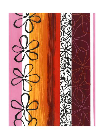 Floral Designs on Stripes--Art Print