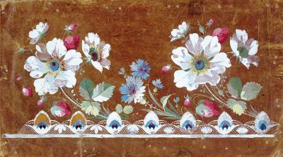 Floral Embroidery Design with Flowers and Strawberries-Jean-Francois Bony-Art Print