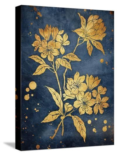 Floral Golden Blues-Jace Grey-Stretched Canvas Print
