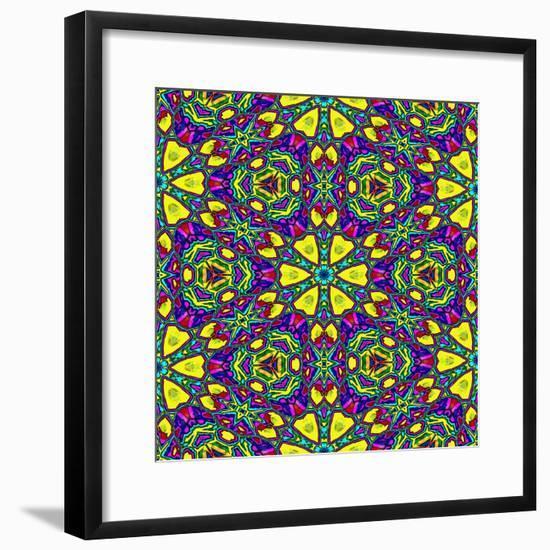 Floral Kaleidoscope Pattern-PandaWild-Framed Premium Giclee Print