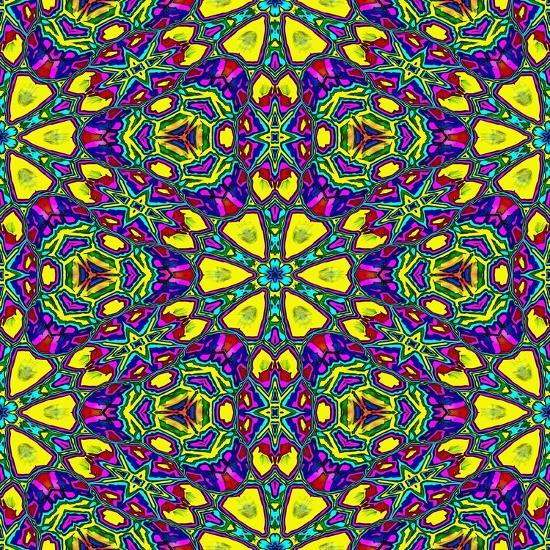 Floral Kaleidoscope Pattern-PandaWild-Art Print