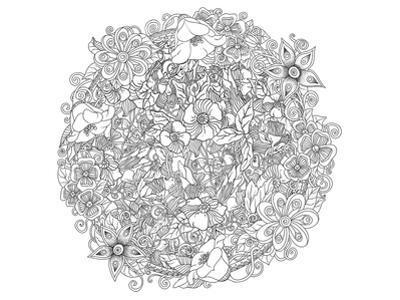 Floral Mandala Style Coloring Art