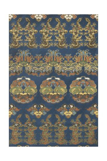 Floral Packed Design in Blue and Brown--Art Print