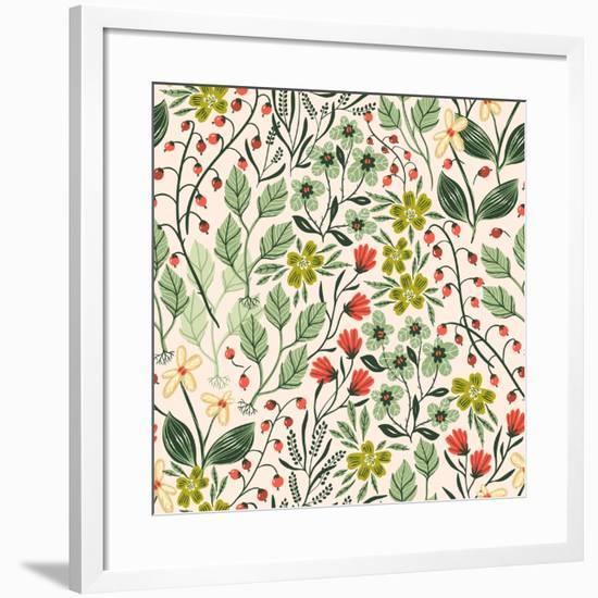 Floral Pattern with Colorful Summer Plants and Flowers-Anna Paff-Framed Art Print