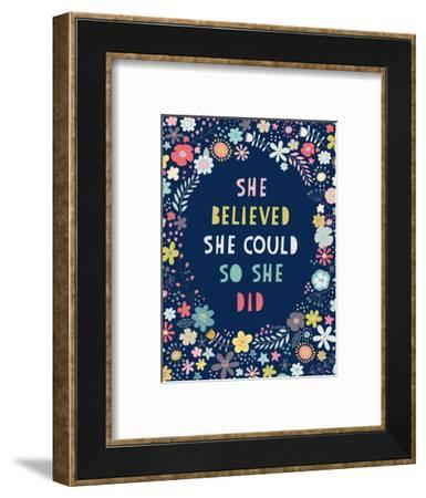 Floral Quote I Indigo-Lamai McCartan-Framed Art Print