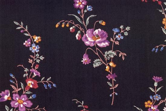 Floral Repeat on Black--Giclee Print