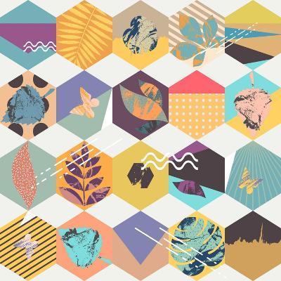 Floral Seamless Geometric Background-theromb-Art Print