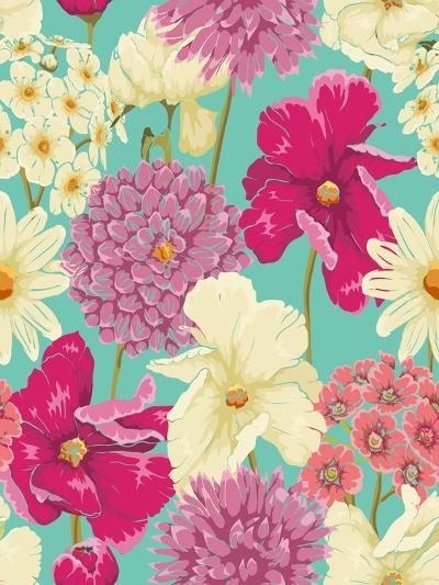 Floral Seamless Pattern with Flowers in Watercolor Style-hoverfly-Art Print