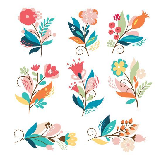 Floral Set-lenlis-Art Print