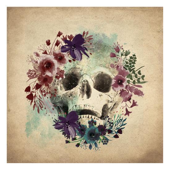 Floral Skull 1 v2-Kimberly Allen-Art Print