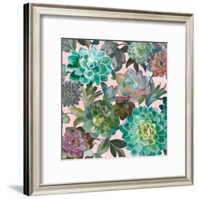Floral Succulents v2 Crop on Pink-Danhui Nai-Framed Art Print