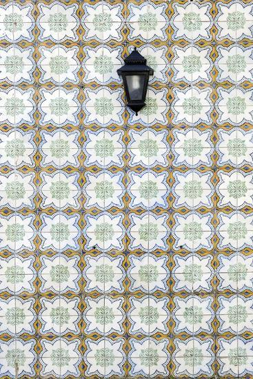 Floral Tile Pattern at Wall of a House, Sintra, Lisbon, Portugal-Axel Schmies-Photographic Print