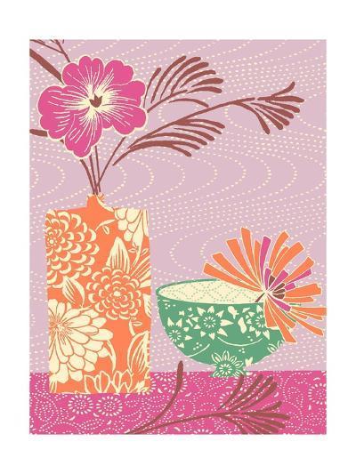 Floral Vase and Bowl Arrangement in Patterns, No.1--Photo