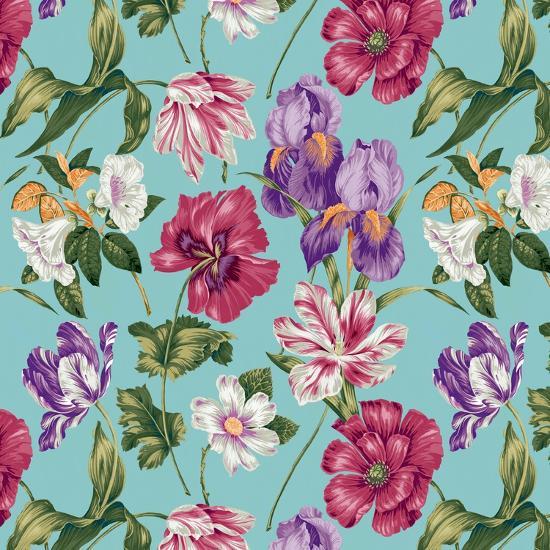Floral Waltz Aqua-Bill Jackson-Giclee Print