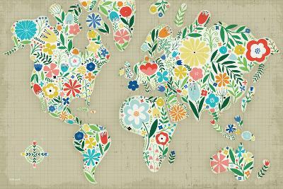 Floral World Tan-Michael Mullan-Art Print