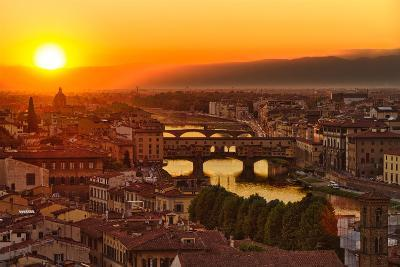 Florence Arno River and Ponte Vecchio at Sunset, Italy-fisfra-Photographic Print