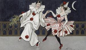 Postcard Depicting Pierrot and His Companion, c.1900 by Florence Hardy