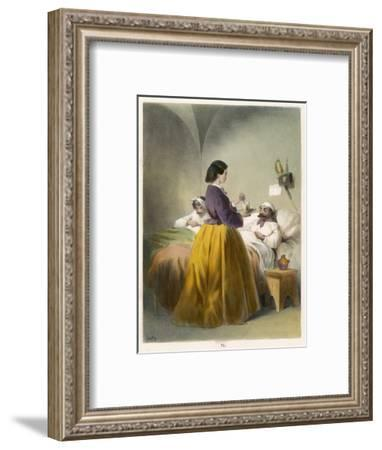 Florence Nightingale in Scutari, Florence Nightingale Attends a Patient--Framed Giclee Print