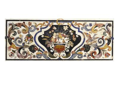 Florentine Pietra Dura Table Top Centred by a Bowl of Fruit and Flowers--Giclee Print