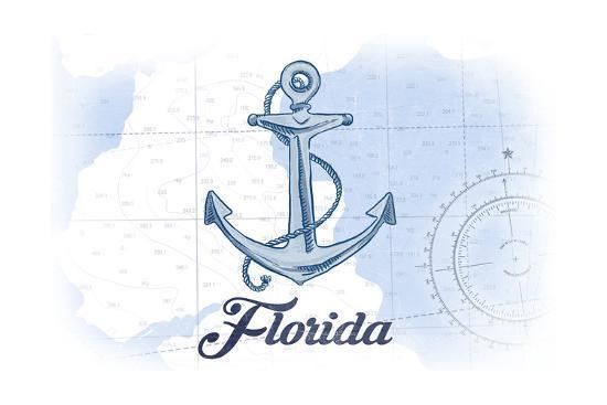 Florida - Anchor - Blue - Coastal Icon-Lantern Press-Art Print