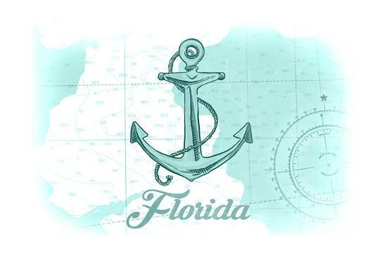 Florida - Anchor - Teal - Coastal Icon-Lantern Press-Art Print