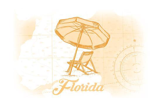 Florida - Beach Chair and Umbrellas - Yellow - Coastal Icon-Lantern Press-Art Print