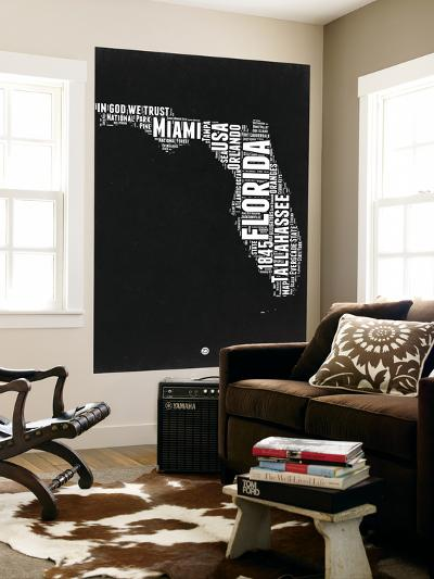 Florida Black and White Map-NaxArt-Wall Mural