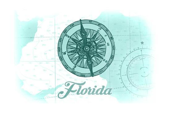 Florida - Compass - Teal - Coastal Icon-Lantern Press-Art Print