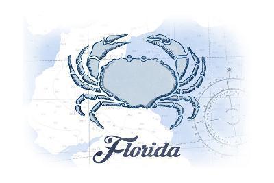 Florida - Crab - Blue - Coastal Icon-Lantern Press-Art Print