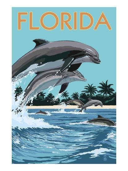 Florida - Dolphins Jumping-Lantern Press-Art Print