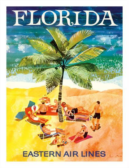 Florida - Eastern Air Lines - Sunbathers around Palm Tree-Jane Oliver-Giclee Print