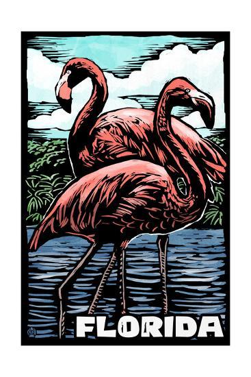 Florida - Flamingo - Scratchboard-Lantern Press-Art Print
