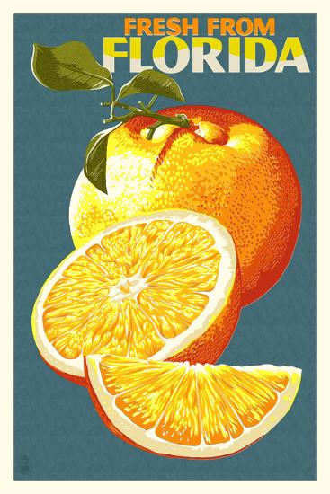Florida - Fresh Oranges - Letterpress-Lantern Press-Art Print