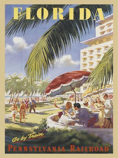 Florida Go by Train-Vintage Poster-Art Print