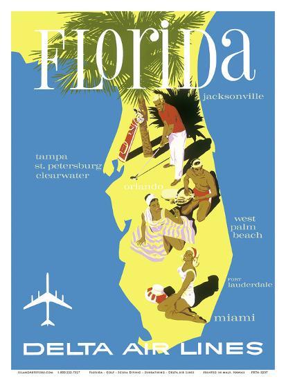 Florida - Golf - Scuba Diving - Sunbathing - Delta Air Lines--Art Print