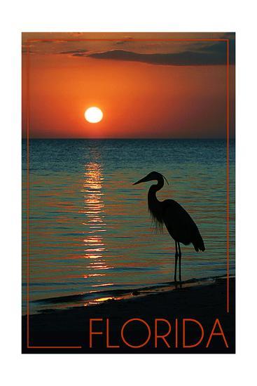 Florida - Heron and Sunset-Lantern Press-Art Print
