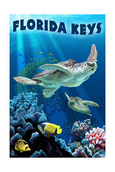 Florida Keys, Florida - Sea Turtle Swimming-Lantern Press-Art Print
