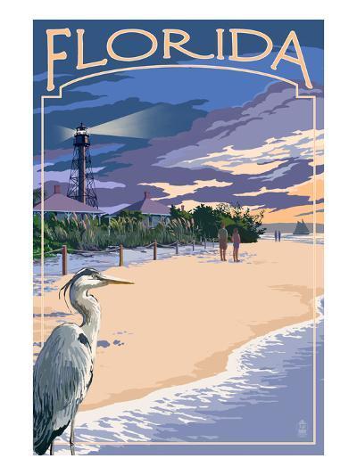 Florida - Lighthouse and Blue Heron Sunset-Lantern Press-Art Print