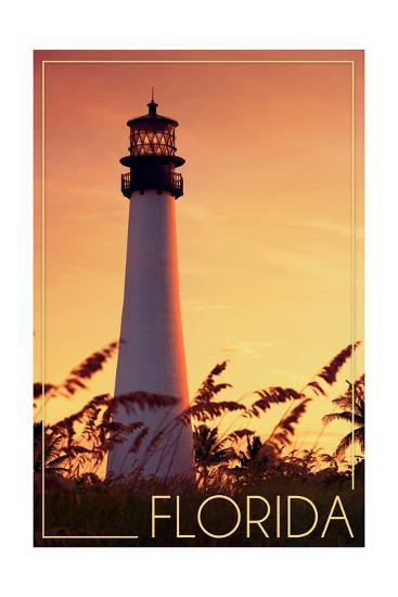 Florida - Lighthouse and Seagrass-Lantern Press-Art Print